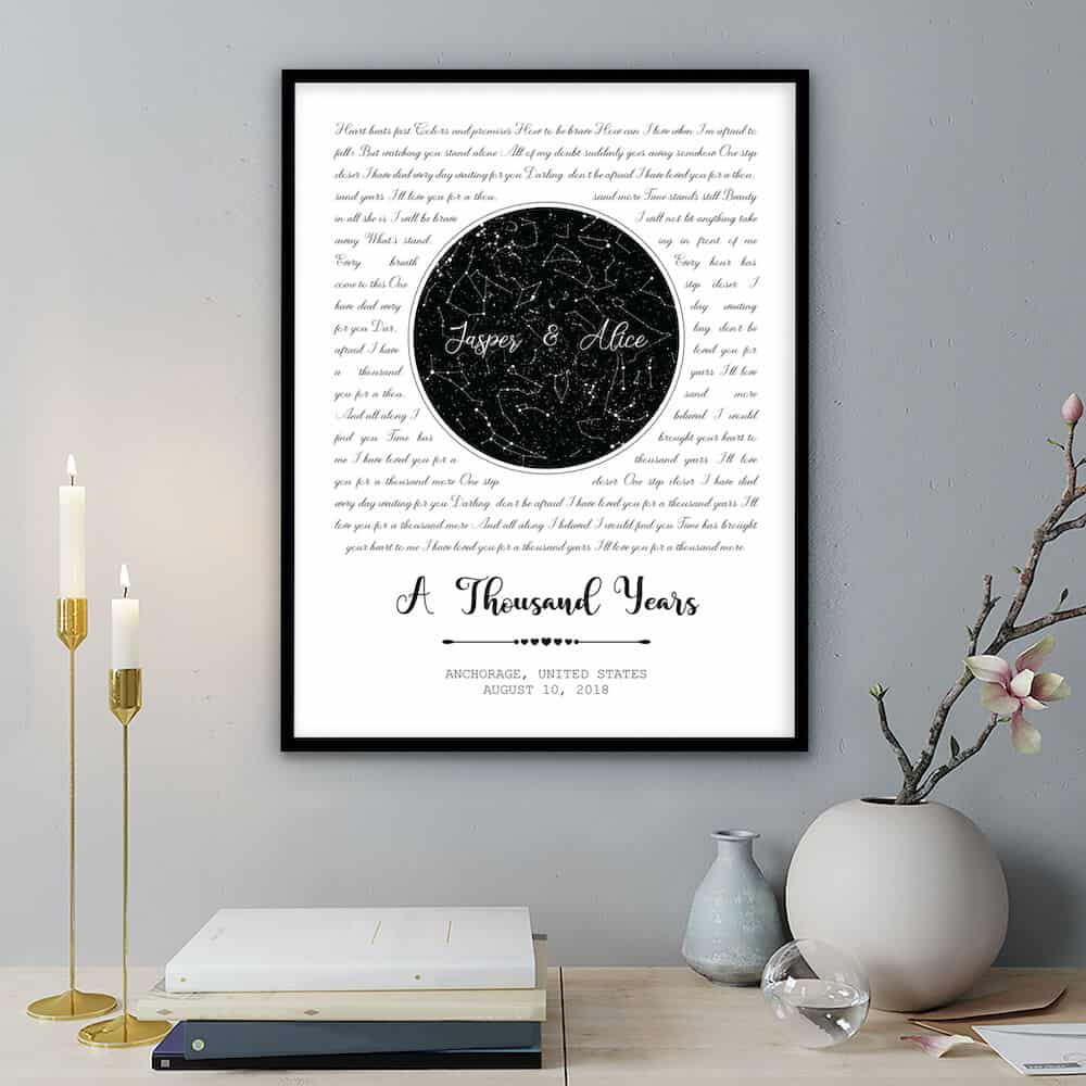 Star Map Framed Print - A romantic Wedding Anniversary Gift for wife