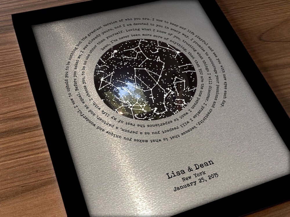 Steel anniversary gift for him - Glowing Star Map