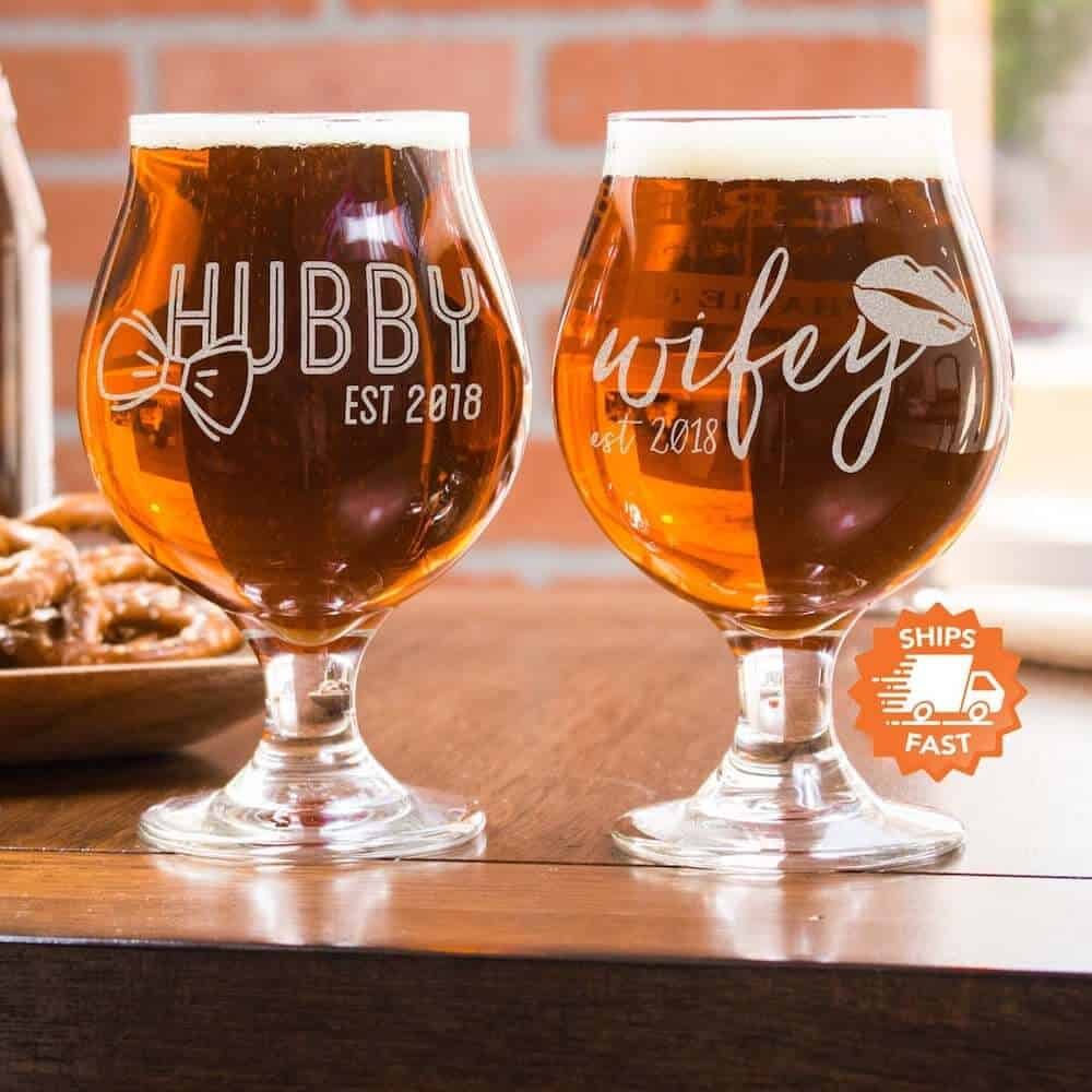 Tulip Beer Glasses - Eleventh Anniversary Gifts for Couples