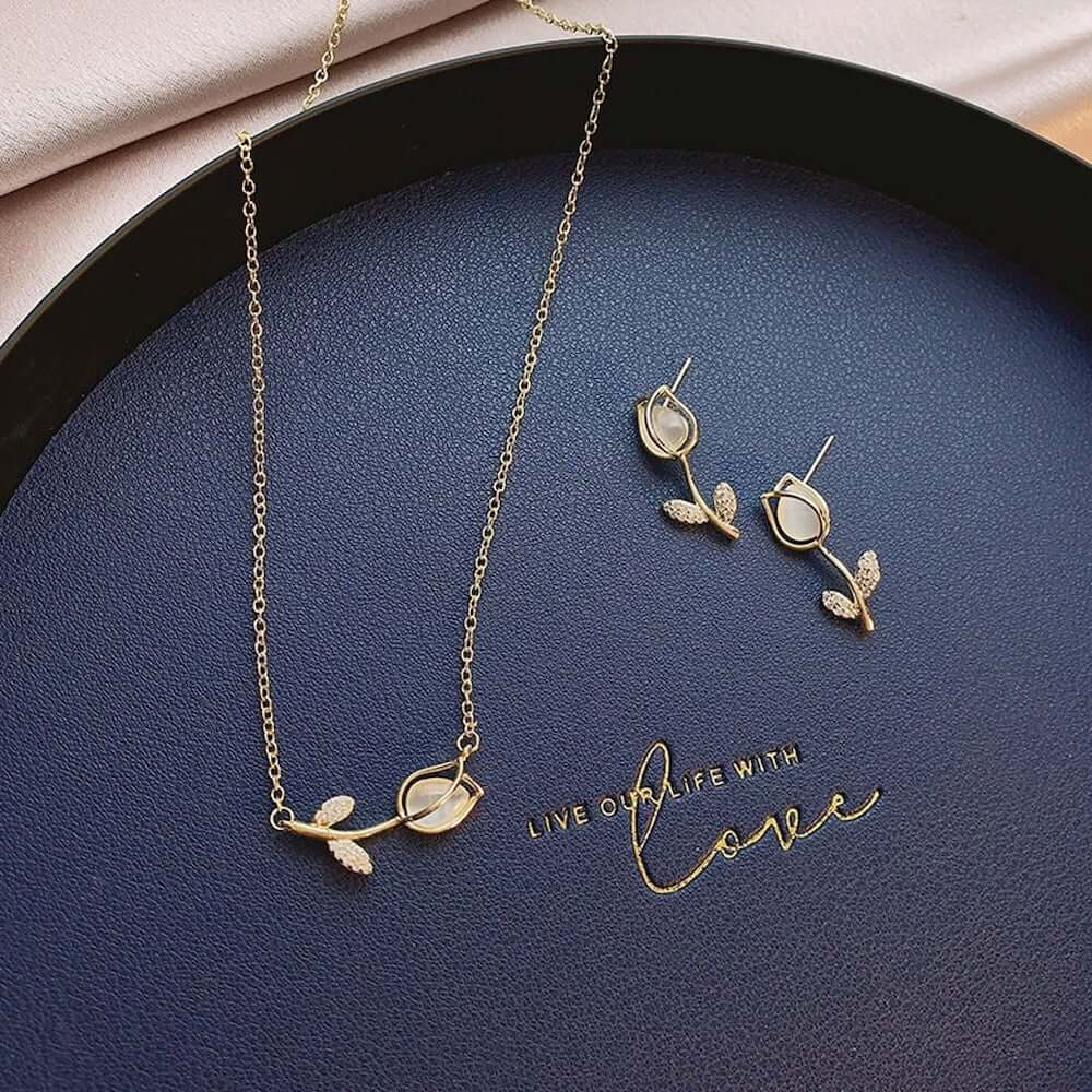 Tulip Earrings and Necklace - 11th Anniversary Flower Gift for Her