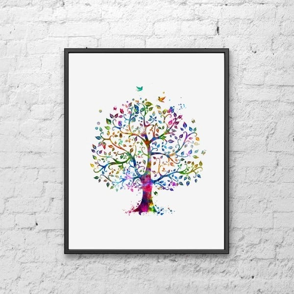 Watercolor family tree on canvas print