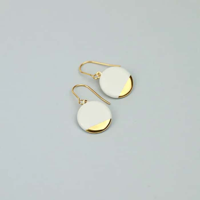 White Porcelain & Fine Gold Earrings 18th wedding anniversary traditional gift