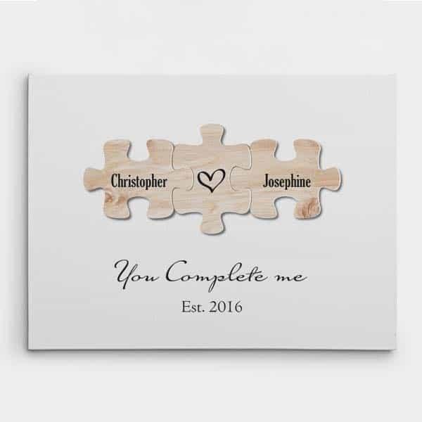 You Complete Me Puzzle Canvas Print