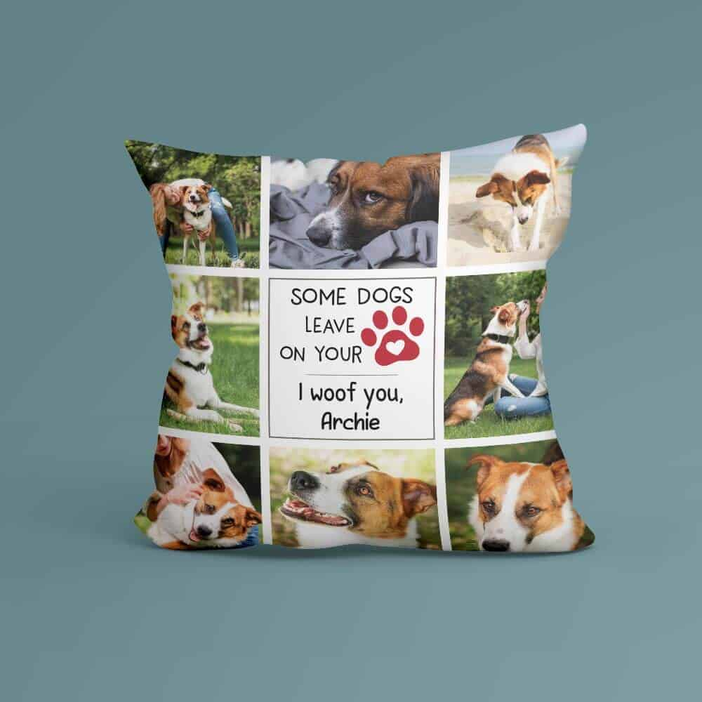 a photo collage pillow for women dog moms
