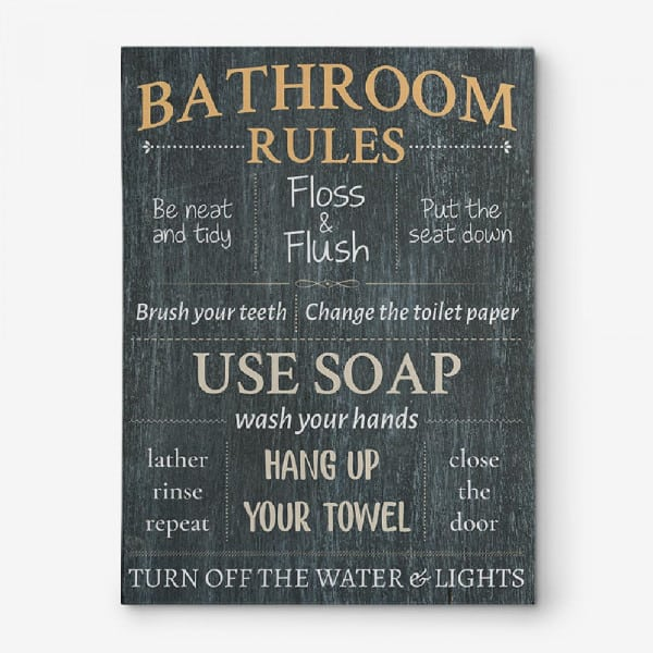 Hilarious Bathroom Rules housewarming gifts