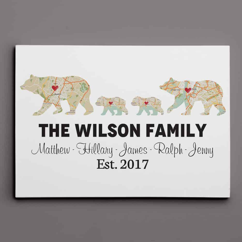 bear family map print gift for moms from sons