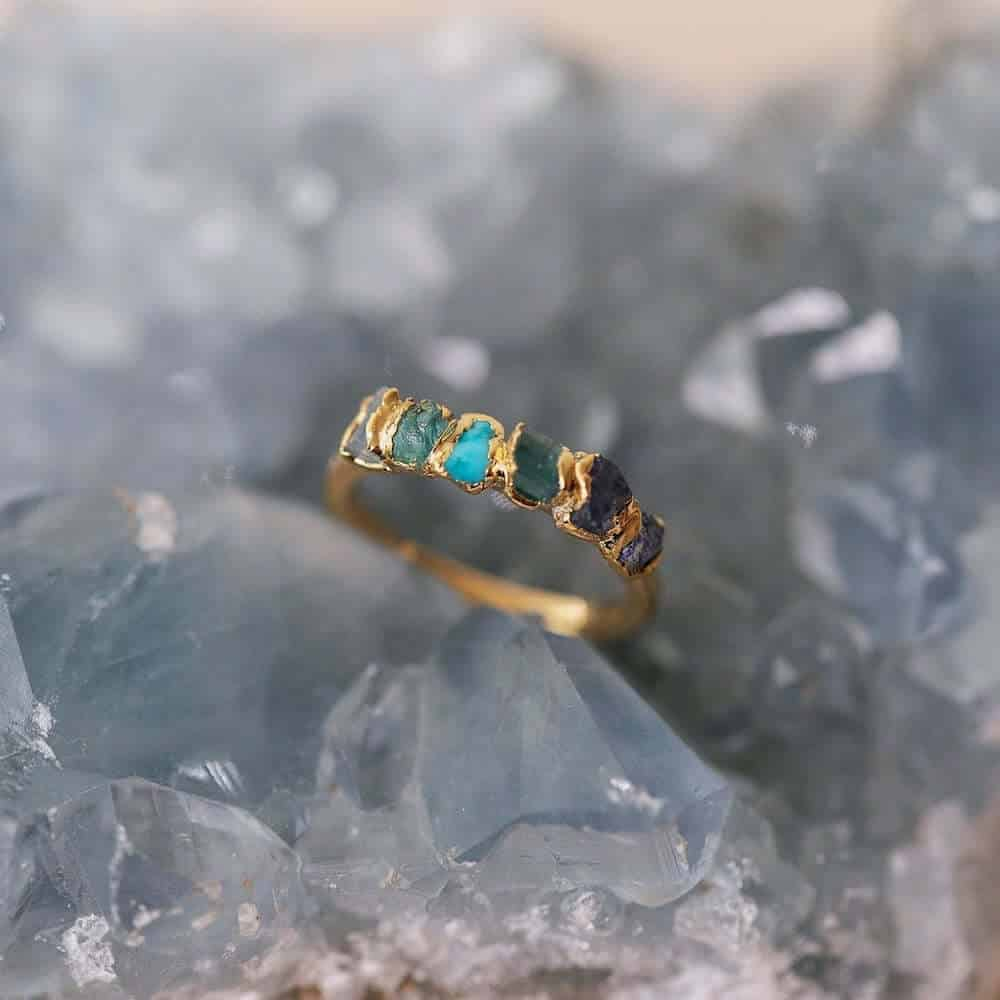 blue ombre birthstone ring gift