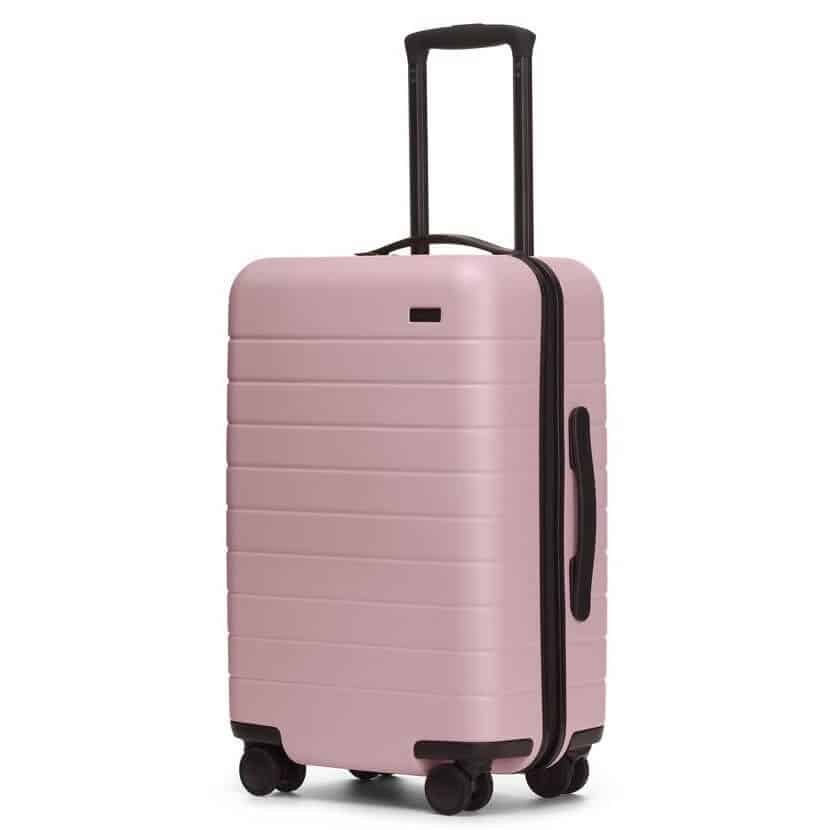 carry on suitcase in rose color for women