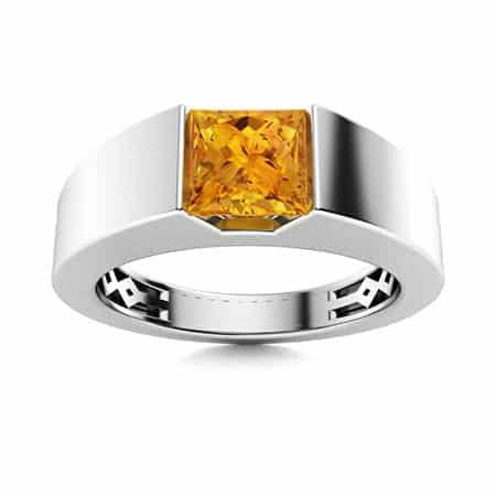 Citrine Men's Ring gemstone of 13th anniversary