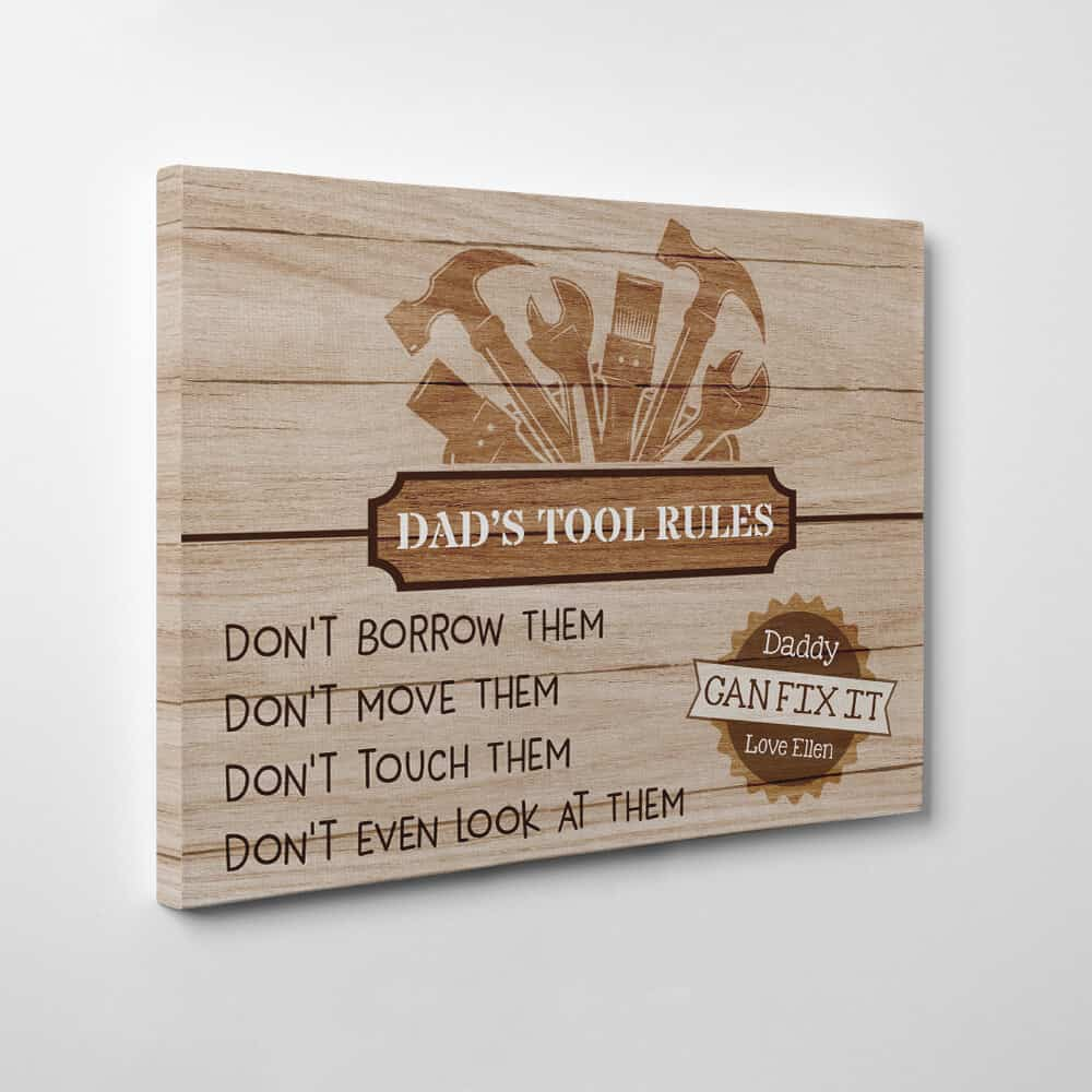 dad tools rules canvas sign print for man cave workshop