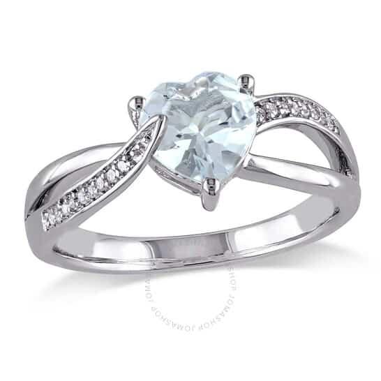 Aquamarine and Diamond Heart Crossover Ring