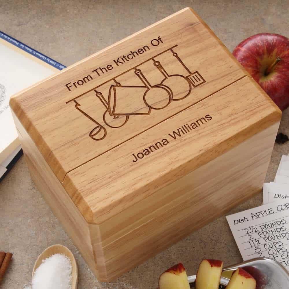 engraved wooden recipe box for neighbor christmas gift