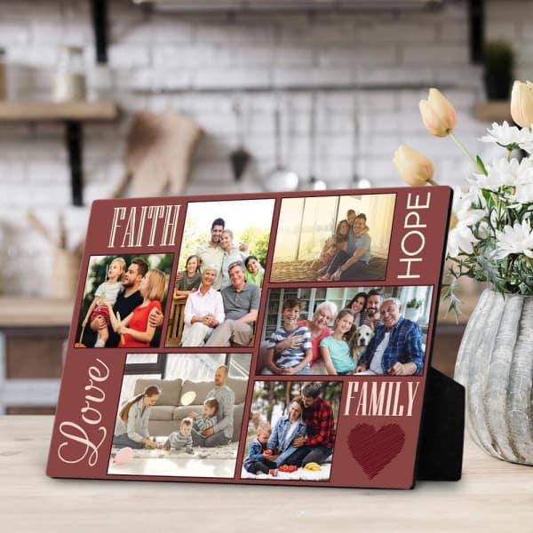 """Faith, Hope, Love, Family"" Desktop Photo Collage Plaque Family gift ideas"