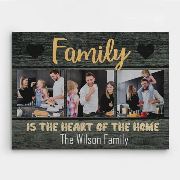 Family Is The Heart Of The Home Custom Photo Canvas Print Family Gift Ideas