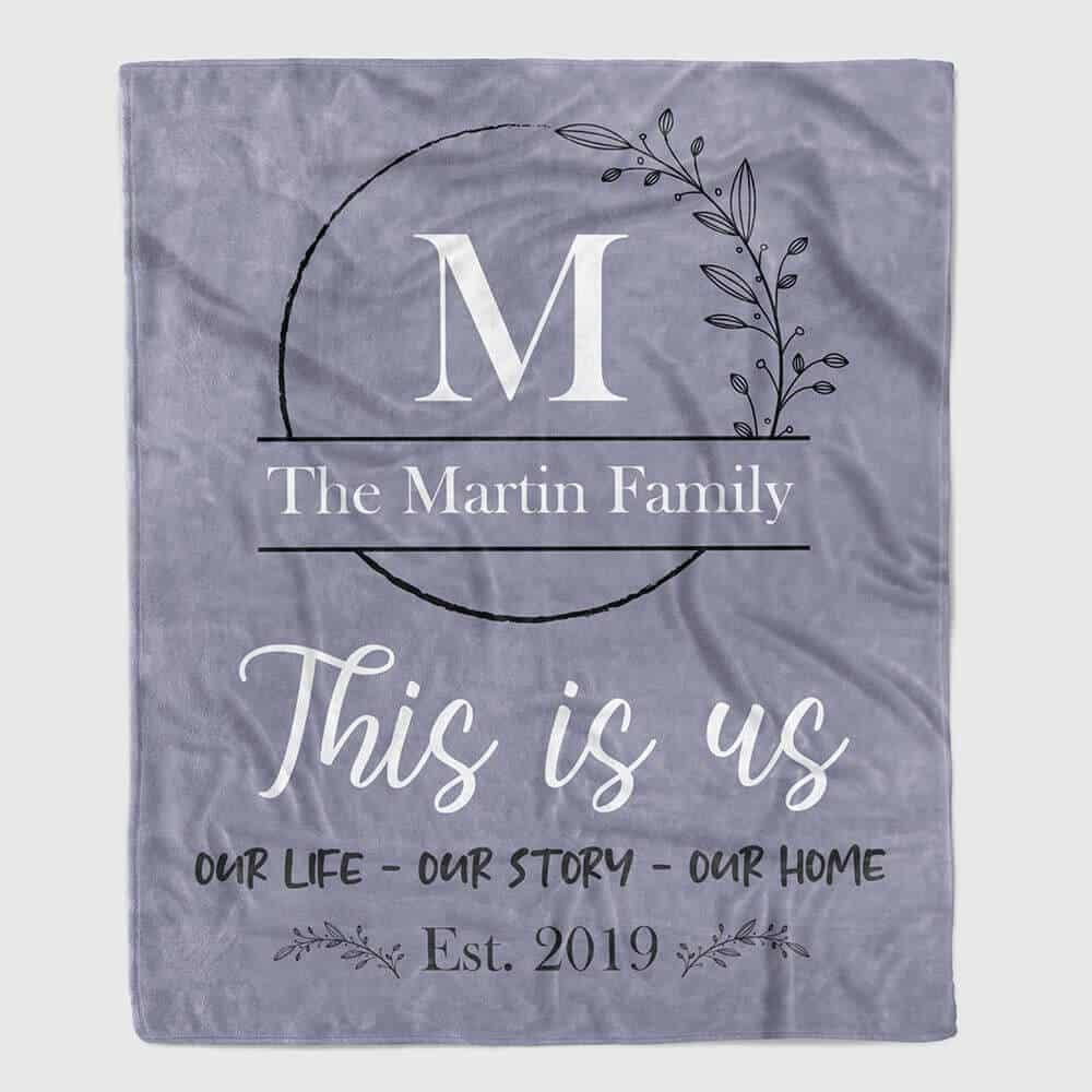 family name initial blanket - Christmas neighbor gift idea