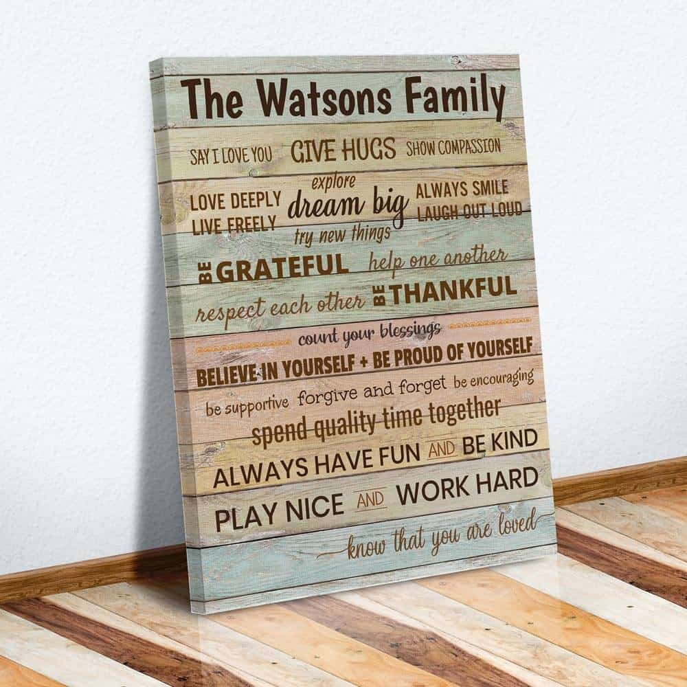 family rules canvas sign with family name christmas gift idea