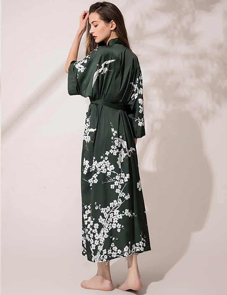 floral kimono silk robe for women