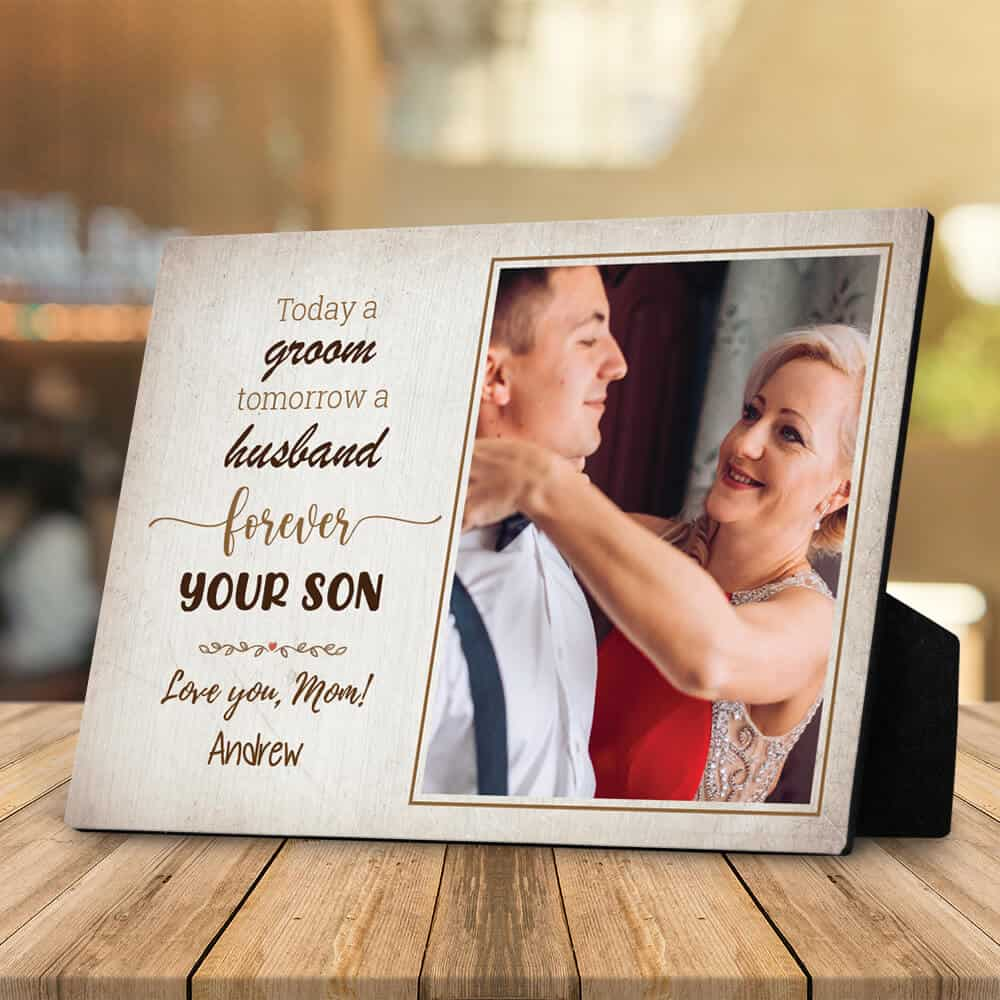 forever your son love you mom desktop plaque with photo