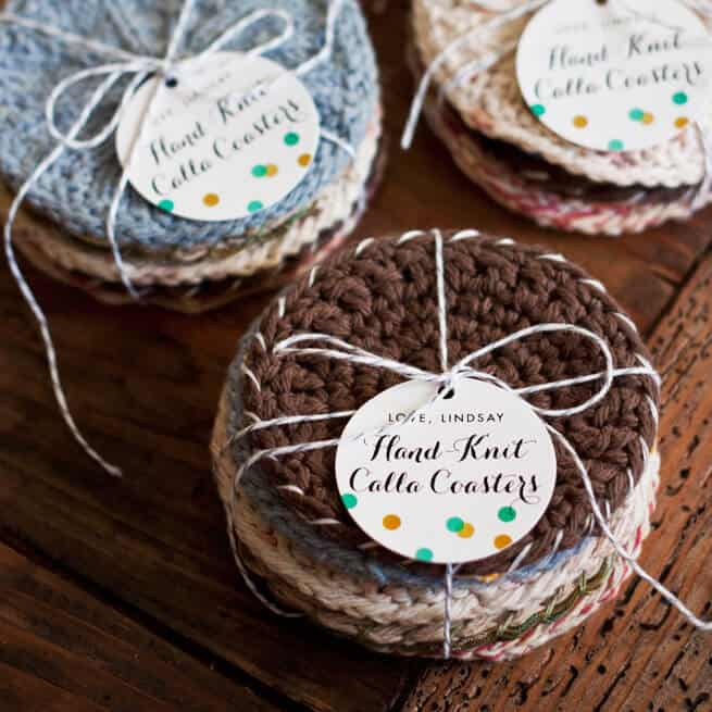 hand knit coasters gift