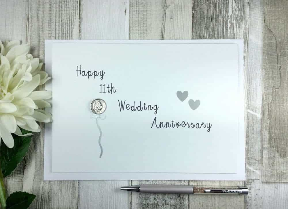 happy 11th wedding anniversary coin card