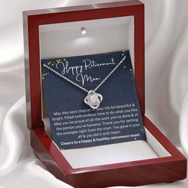 Happy Retirement Mom Necklace: retirement gift ideas for mom