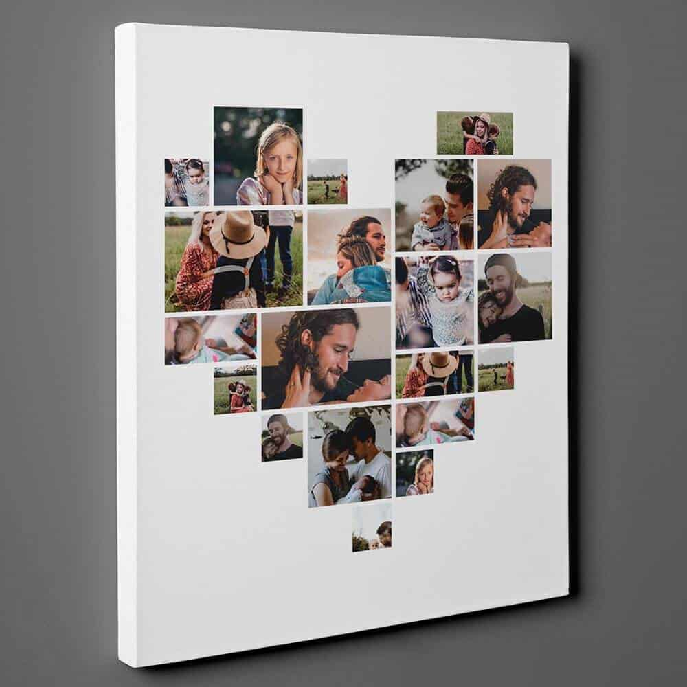 heart photo collage canvas print gift for women