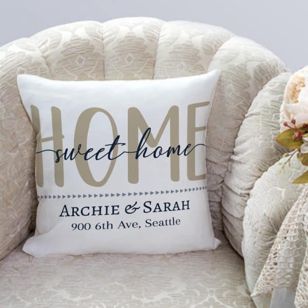 Home Sweet Home Personalized Address Pillow family gift ideas