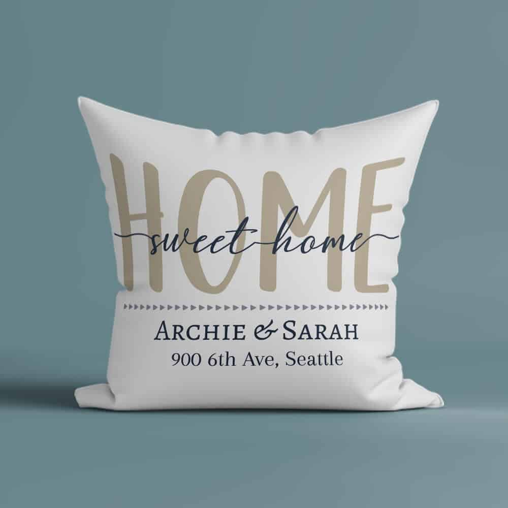 home sweet home pillow gift for neighbor with custom name address