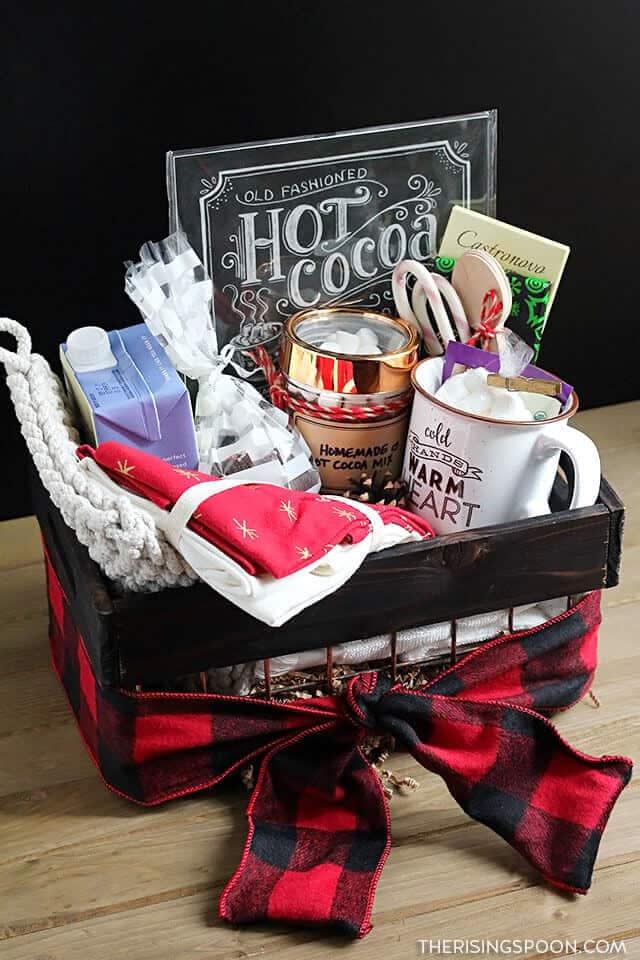 homemade hot cocoa gift basket for next door neighbor
