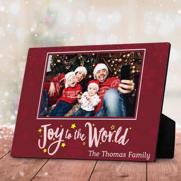 family photo on desktop plaque