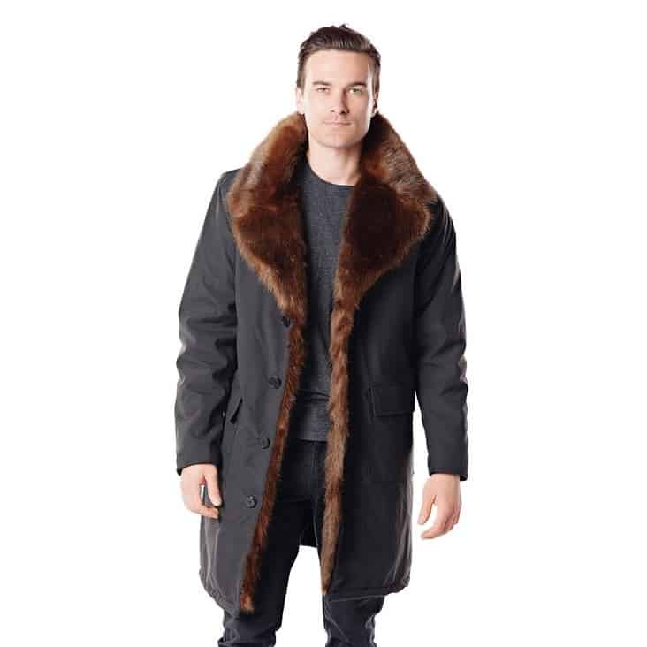 Men's Faux Fur-Trimmed Coat 13 year wedding anniversary gift for him