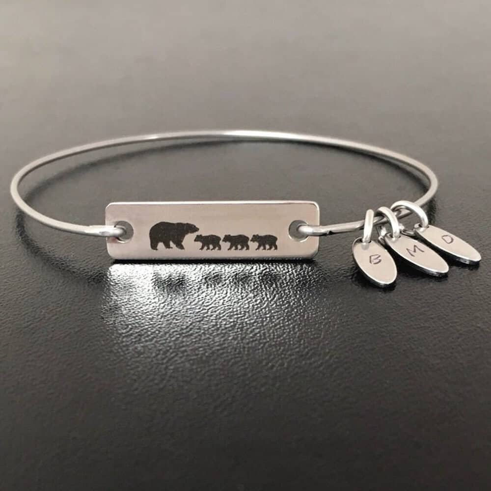 mama bear and cubs bracelet for mom from sons