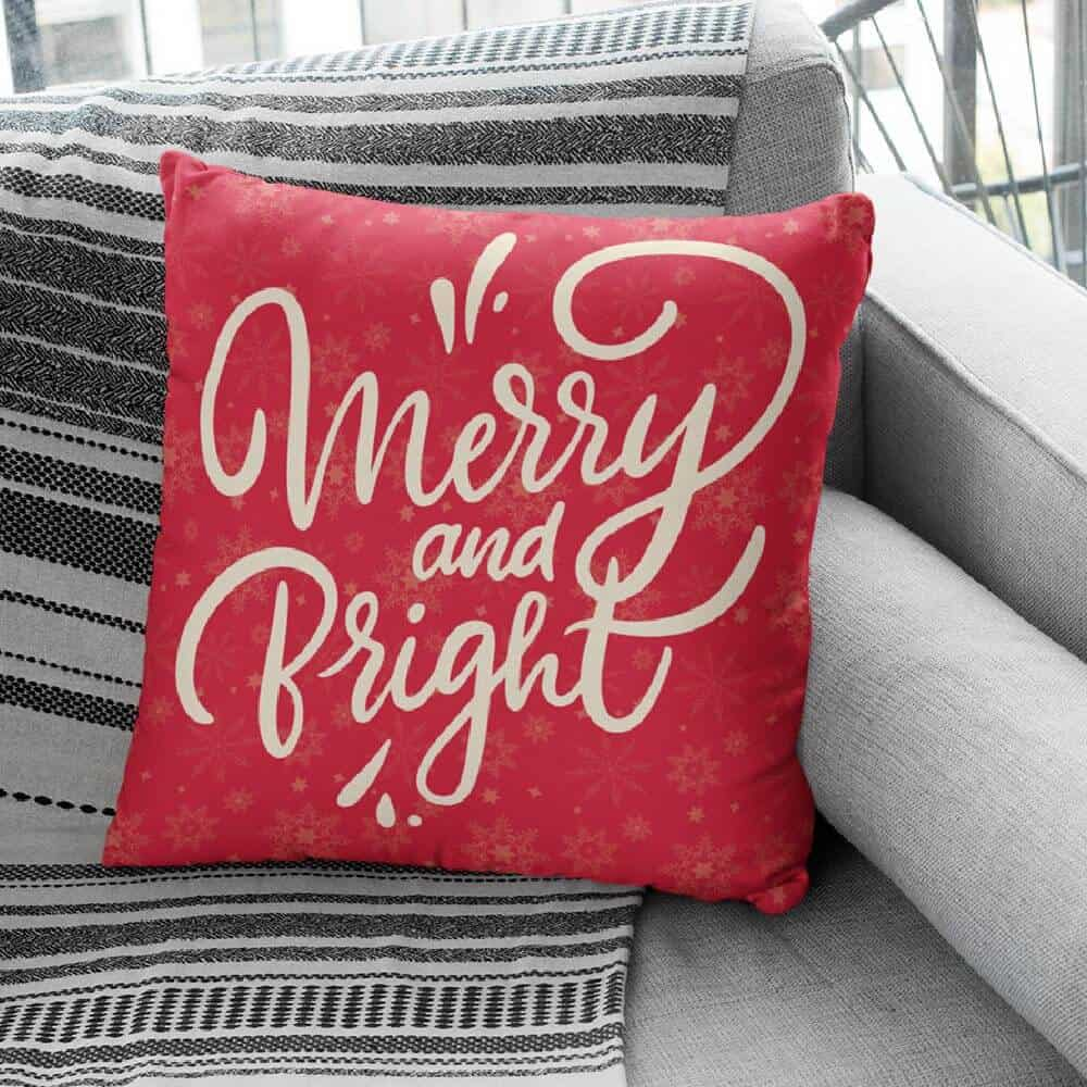 merry and bright christmas pillow gift for neighbors