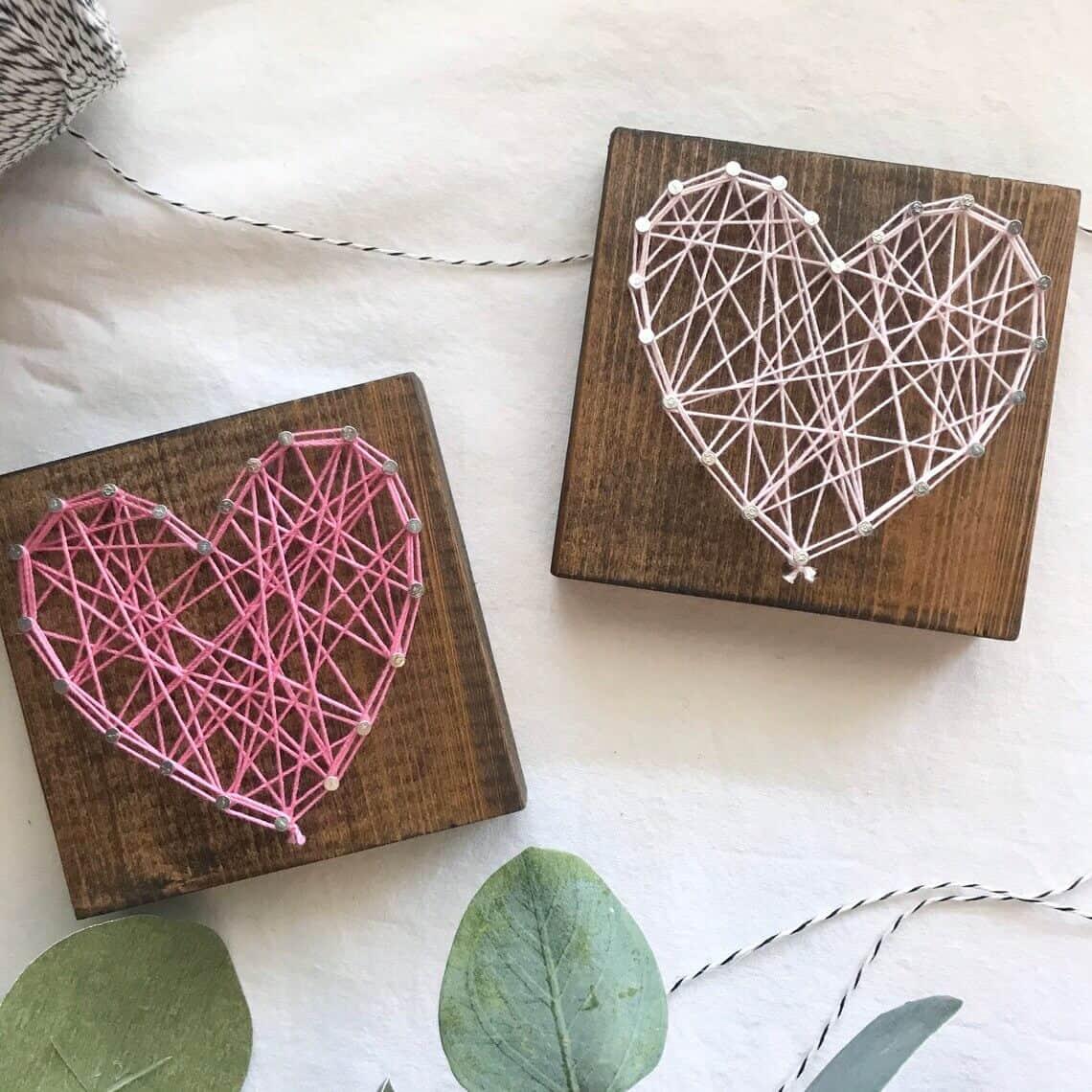 mini heart string art - small gift for women