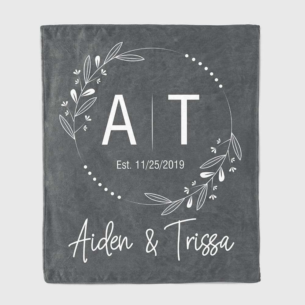 monogram throw blanket gift for a couple 11th wedding anniversary