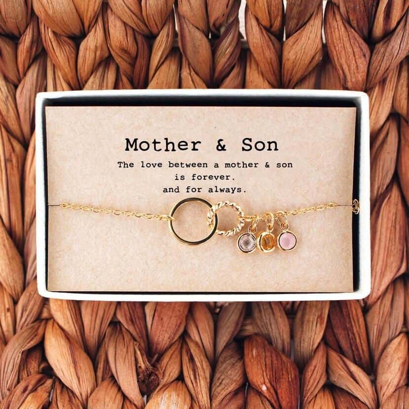 mother and son rose gold necklace