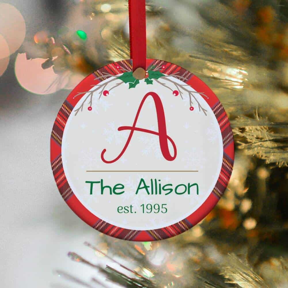 ornament gift for neighbor with family name initial and established year