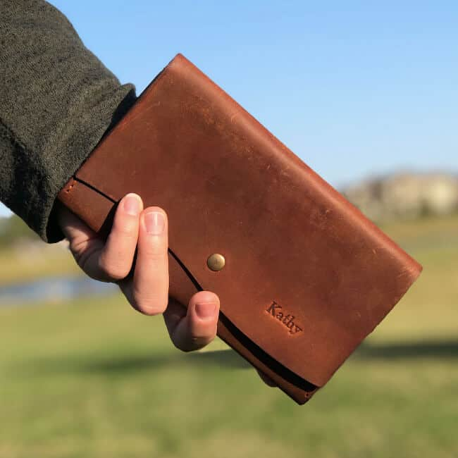 personalized leather wallet for women