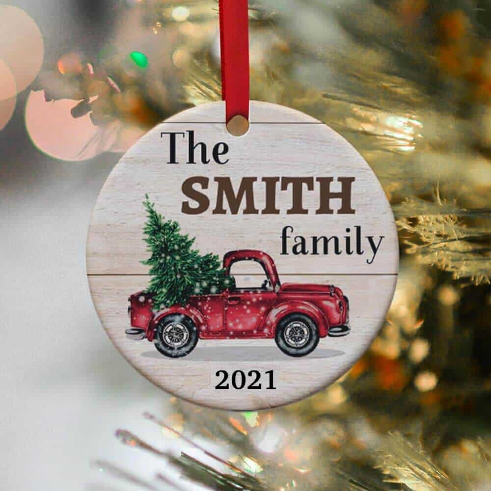 red truck christmas ornament 2021 personalized with family name