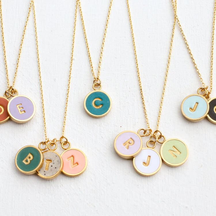 round initial necklace gift for her
