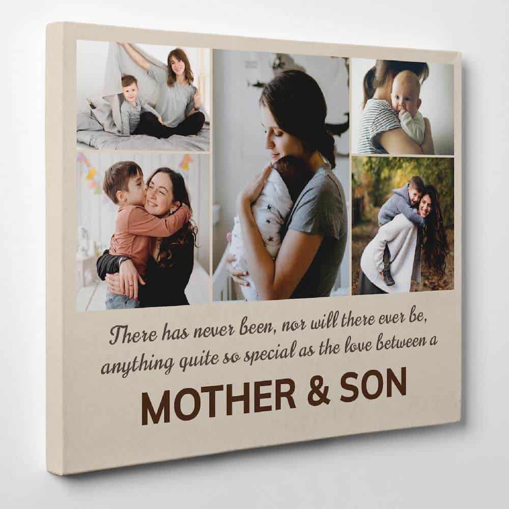 a photo collage of pictures of a mom and her son - gift for mom from son