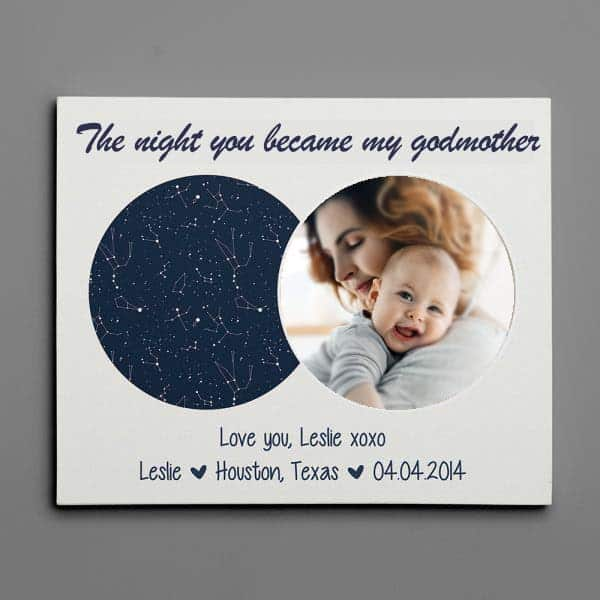 The Night You Became My Godmother Star Map: godmother keepsake gifts
