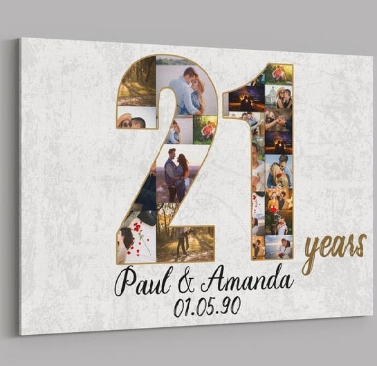 21st Anniversary Gifts Custom Collage Photo Canvas Print