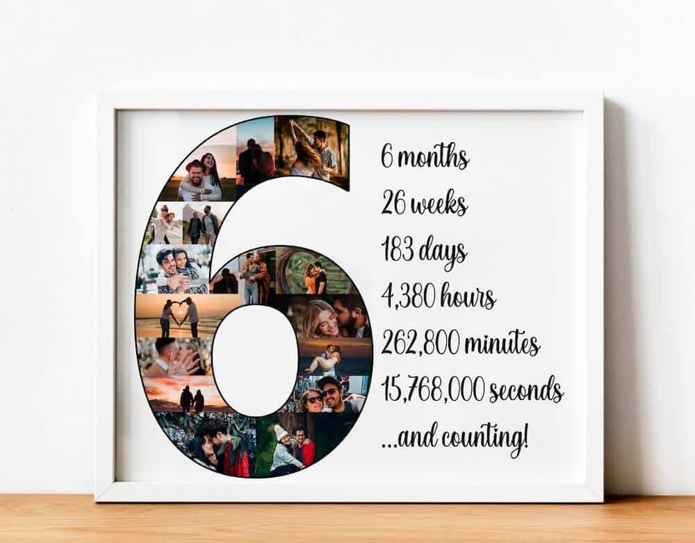 a photo collage print with the words 6 months and counting - anniversary gift for boyfriend