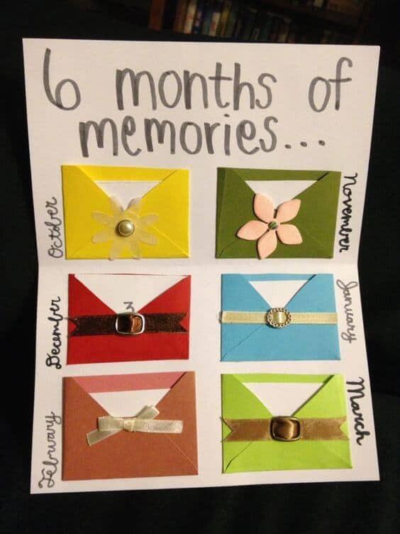 6 months of memories - DIY card gift for boyfriend