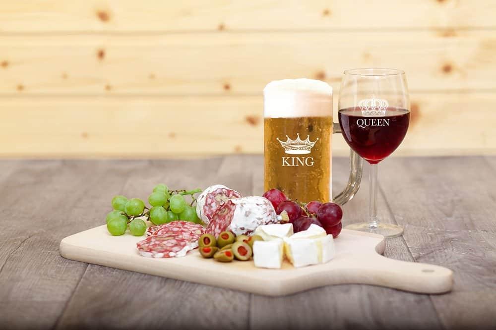 King Beer Queen Glass Set