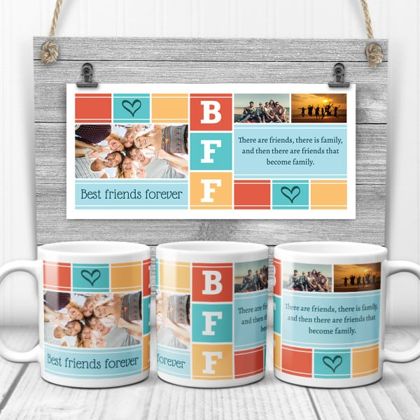 stocking stuffer for BFF: BFF Custom Photo Collage Mug