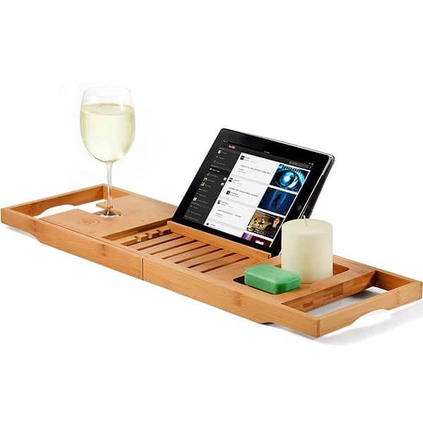 Bamboo Luxury Bathtub Caddy Tray secret santa gift ideas for friends