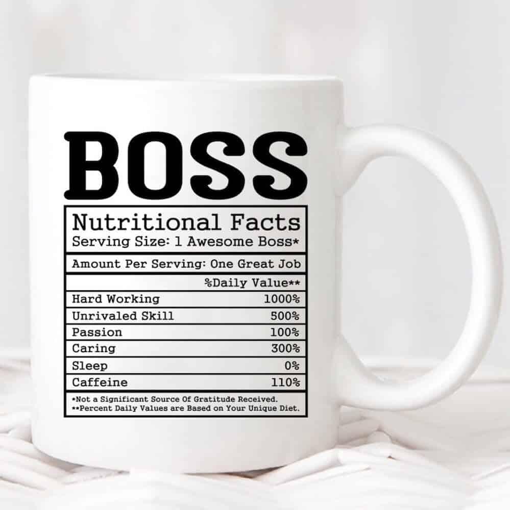 female boss nutrition facts mug