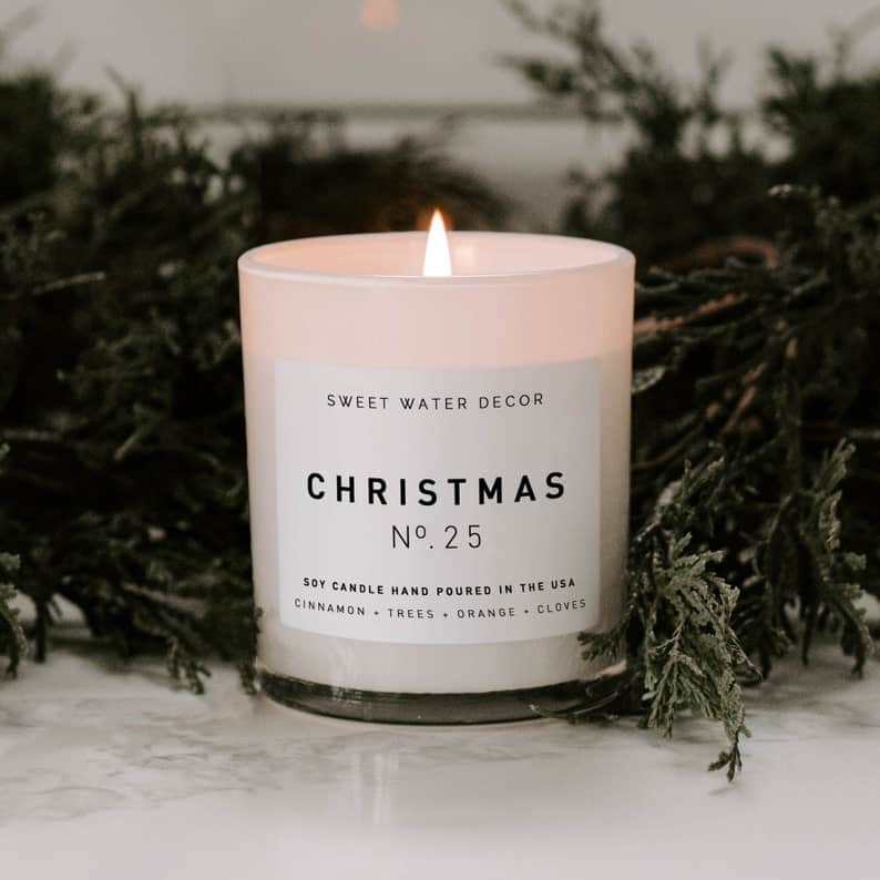 Christmas White Jar Candle secret santa gift ideas for guys